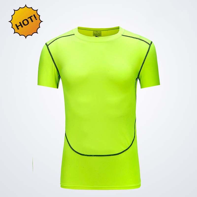 Summer 2016 Outdoors Pro Skinny Thermal Muscle Bodybuilding Base Layer Tops Crossfit Tight Fitness Green Short sleeve tshirt men(China (Mainland))