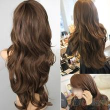 New Sexy Womens Girls Fashion Style Wavy Curly Long Hair Human Full Wigs Colors  005K(China (Mainland))