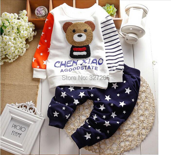 hot sell children boys clothing set baby boy product spring kids animal bear fashion lap + star pants 2pcs(China (Mainland))