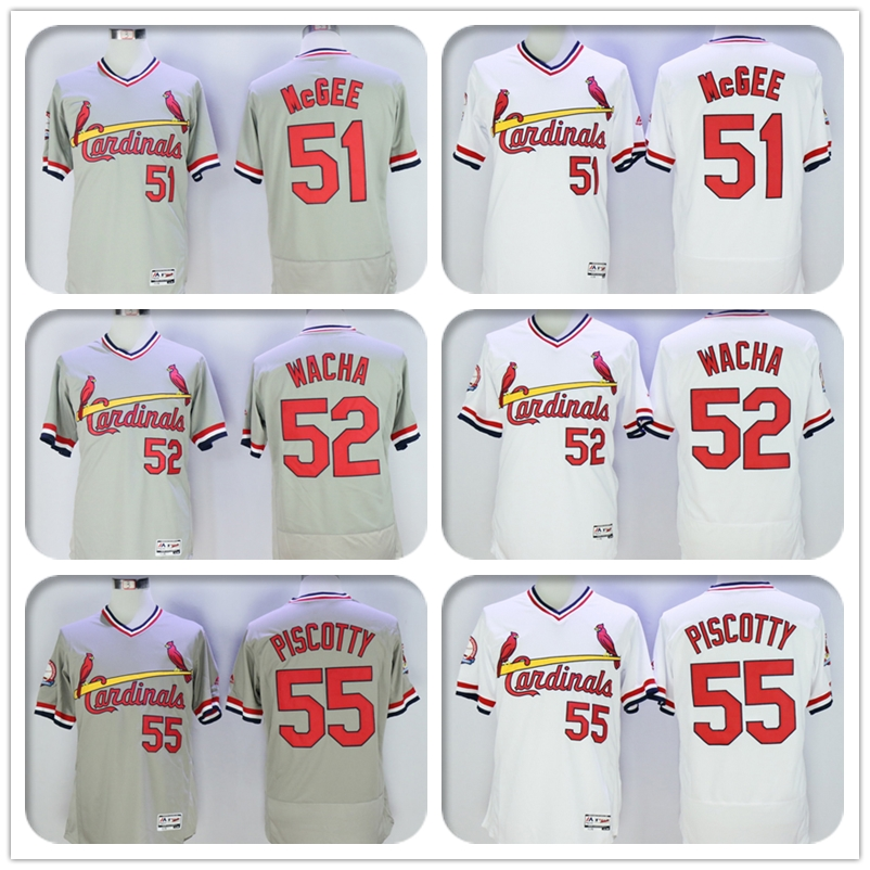 Mens Flexbase #51 Willie McGee #52 Michael Wacha #55 Stephen Piscotty Jersey Color Blue White Gray Throwback Jerseys(China (Mainland))