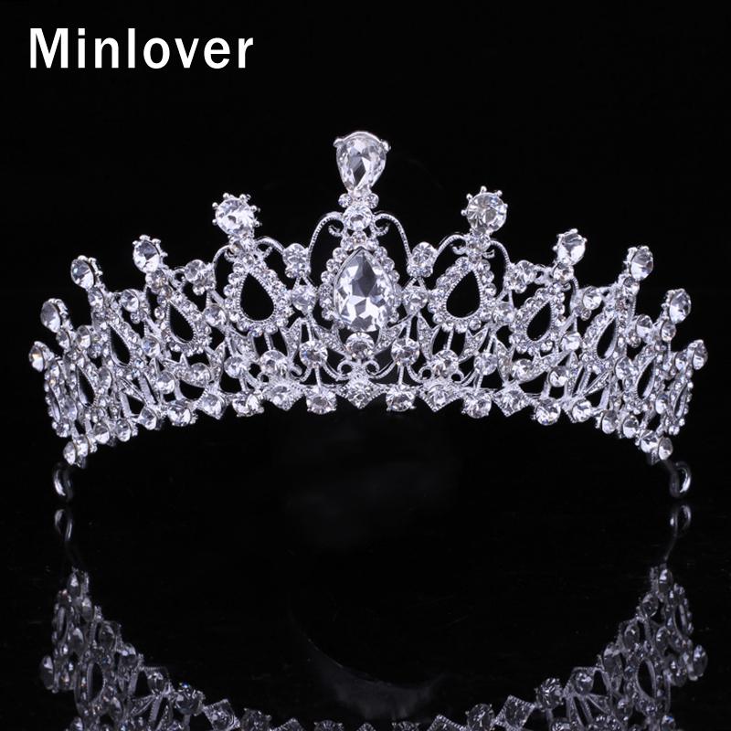 Minlover de Lujo Corona de La Boda Tiara Nupcial Del Pelo Del Pelo Accesorios de Cristal de Color Plata HG004