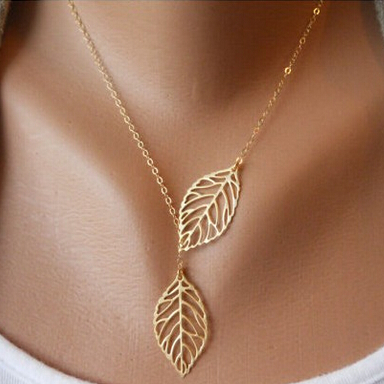 Fashion Alloy Gold Plated Vintage Big Leaf Pendant Necklace Clavicle Chain Fine Jewelry Necklaces For Women LS53(China (Mainland))