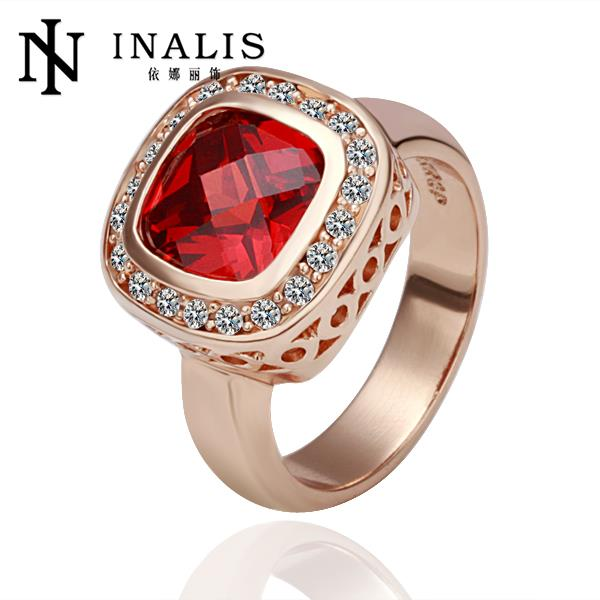 R054 Fashion Ruby Jewelry 18K Gold Ring Wedding Jewelry Engagement Rings For Women anillos bague anel