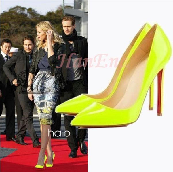Fashion red bottom Pumps Womens Pointed Toe Stilettos Night Club Yellow Blue Super High Heels Vogue Party Shoes - LALALA shops store