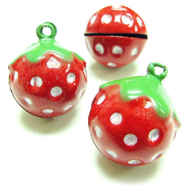 20Pcs Fashion Cartoon Bell Ornaments Lovely Red Pink Strawberry 21*17mm Bell for Christmas Decoration DIY Accessory(China (Mainland))