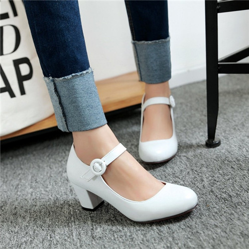 Plus Size EUR35-43 Office Lady Mary Jane Sweet Buckle Ankle Strap Shoes Woman Round Toe Block Mid Heel Red Bottom Pumps 2016(China (Mainland))