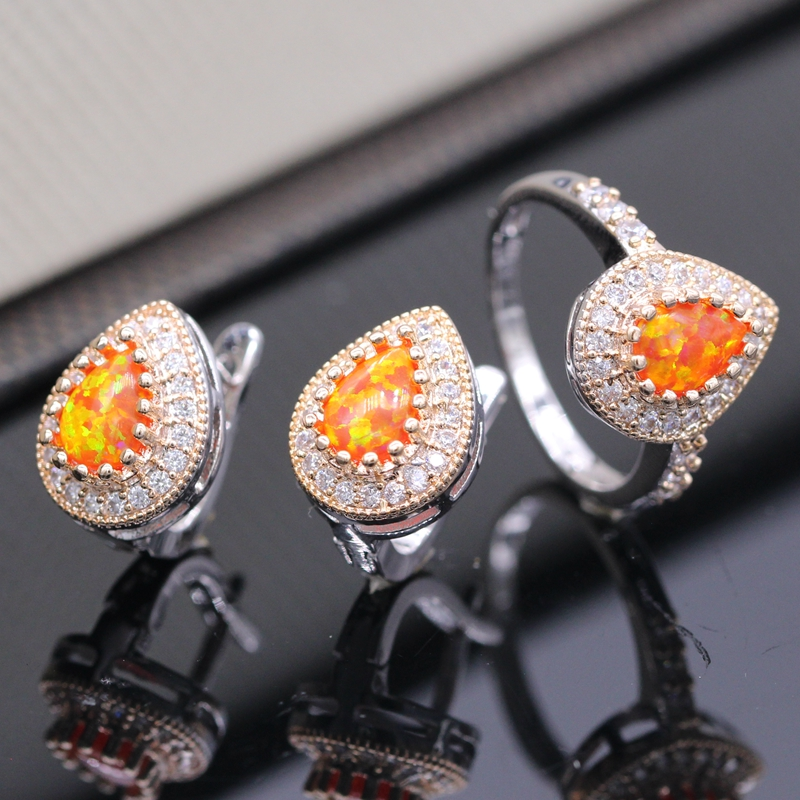 Fashion Orange Fire Opal Set 100% Hand Made Jewelry Ring+Earrings Sets Crystal CZ Office Lady Accessories 3colors(China (Mainland))