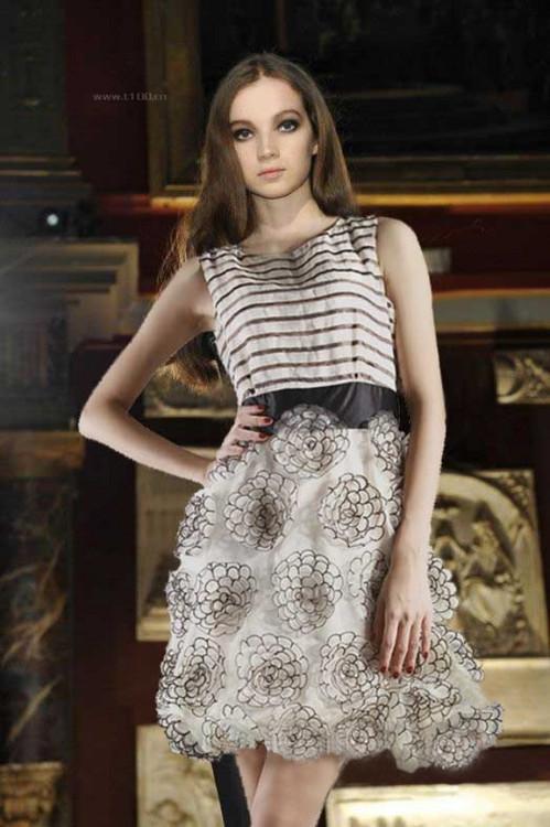 Organza And Silk Day Chiffon 3 d Flower Sweet Brand Cute Dress Women Fashion(China (Mainland))