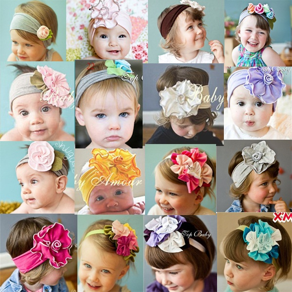 Cotton candy Jersey Flower Headband For Baby Girl Newborn Infant Toddler Photography / photo prop 20pcs HB254(China (Mainland))