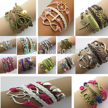 Fashion jewelry leather Double infinite multilayer bracelet factory price wholesales