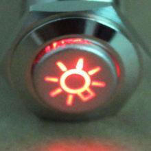 16mm Red Car Headlight Symbol 12V LED Push Button Metal Toggle Switch XYZ Sales(China (Mainland))