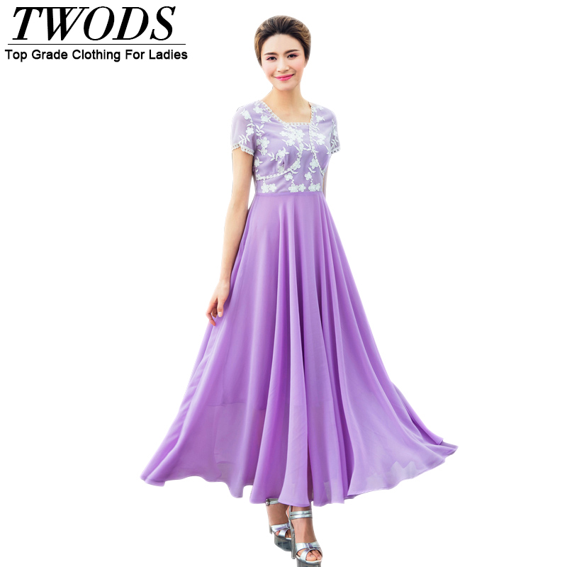 Twods New Elegant Chiffon Women Summer Long Dress Short Sleeve Maxi Long Boho Beach Plus Size Dresses Big Size 4xl Vestidos