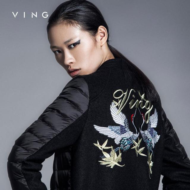 Винг тсун 2015 европейский стиль тонкий пуховики краны вышивания стенд воротник лоскутная ...