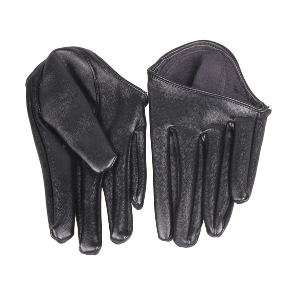 Fashion Hot Lady Woman Tight Half Palm Gloves Imitation Leather Five Finger Black BS88(China (Mainland))