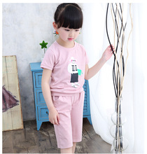 2016 New Arrival Kids Summer Style Cotton Short Sleeve Pullover+Loose Pants Girls Sets Girl Clothing Set For Girls