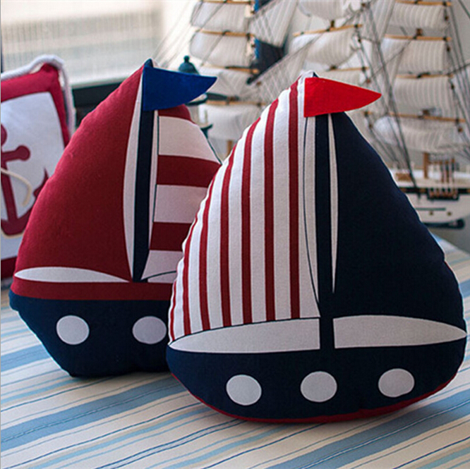 Embroidery Navy blue Sea Sailing Ship Pillow Case Canvas boat Pillow Cushion Cover Nautical IKEA home furnishing(China (Mainland))