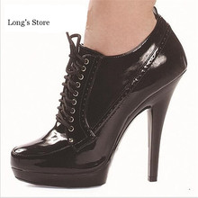 CDTS spring/autumn 2016 New 13cm high heels wedding shoes sexy pumps round head ankle lace-up shoes,Big 35-43 44 45 46(China (Mainland))
