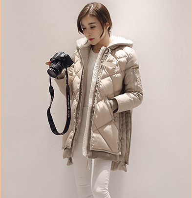 Фотография Plus size loose thickening warm long winter down coat women fake fur hooded white duck down jacket 2016 autumn g9820