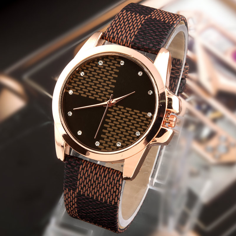 New Fashion Brand Grid Leather Strap Watch Quartz Watches women casual watches ladies wristwatch women dress watches reloj mujer(China (Mainland))