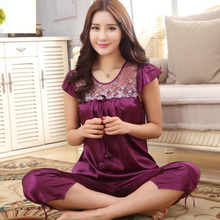 Women imitated silk sexy embroidery lace round collar short sleeve nightgown,lady girls purple rose red pajama M-XXL KOL K-1698