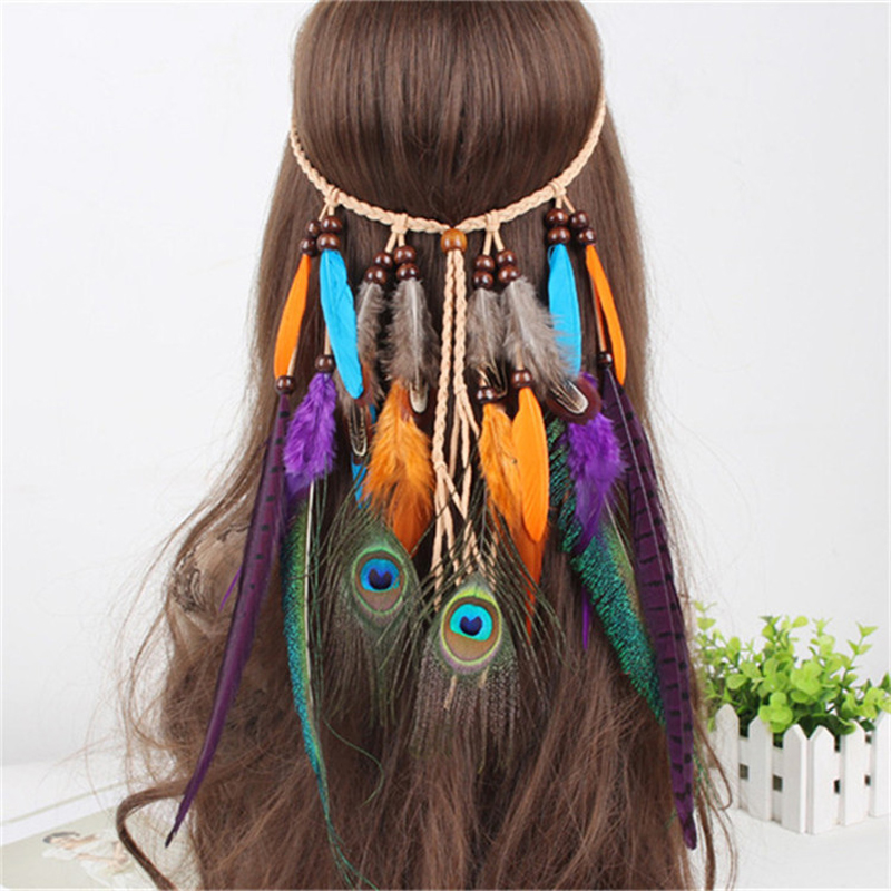 Hot Pretty Gifts Fashion Hair Band Indian Peacock Feather Pendant Headband Leaves Rope Knitted Belt Elastic Hairband 2016(China (Mainland))