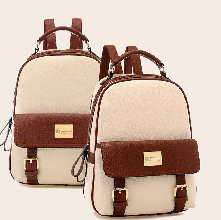 2015 Fashion Preppy Style Women Backpacks Patchwork Bear Girl Student School bags PU leather travel Rucksack mochila - Fortune international Buy directly from China store