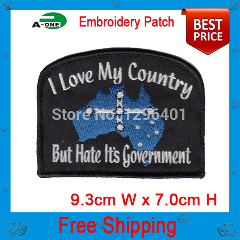 Australia professional computer embroidery patch promotion hot cut Iron on garment & bag accept customised free shipping(China (Mainland))