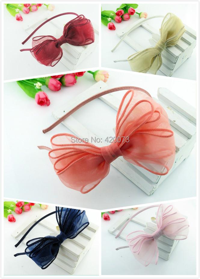 Free Shipping 10 Pcs/lot Girl Solid Organza Bows Hairband,Baby Hair Bow Hairbands,Organza Hairband For Girls,Girls Satin Band(China (Mainland))