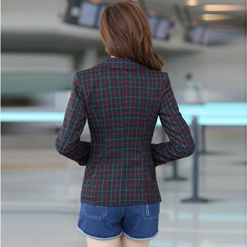 Весна осень женщины винтажный приталенный шотландка коленчатый патрубок заплатка одна пуговица пиджак дамы пальто причинно костюм куртка a536