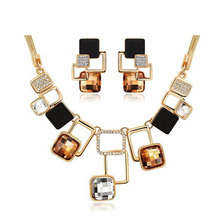 Fine Jewelry sets New Fashion 18K Gold Filled Rhinestone Crystal Acrylic Geometric Necklace Earring Jewellery Set For Women(China (Mainland))