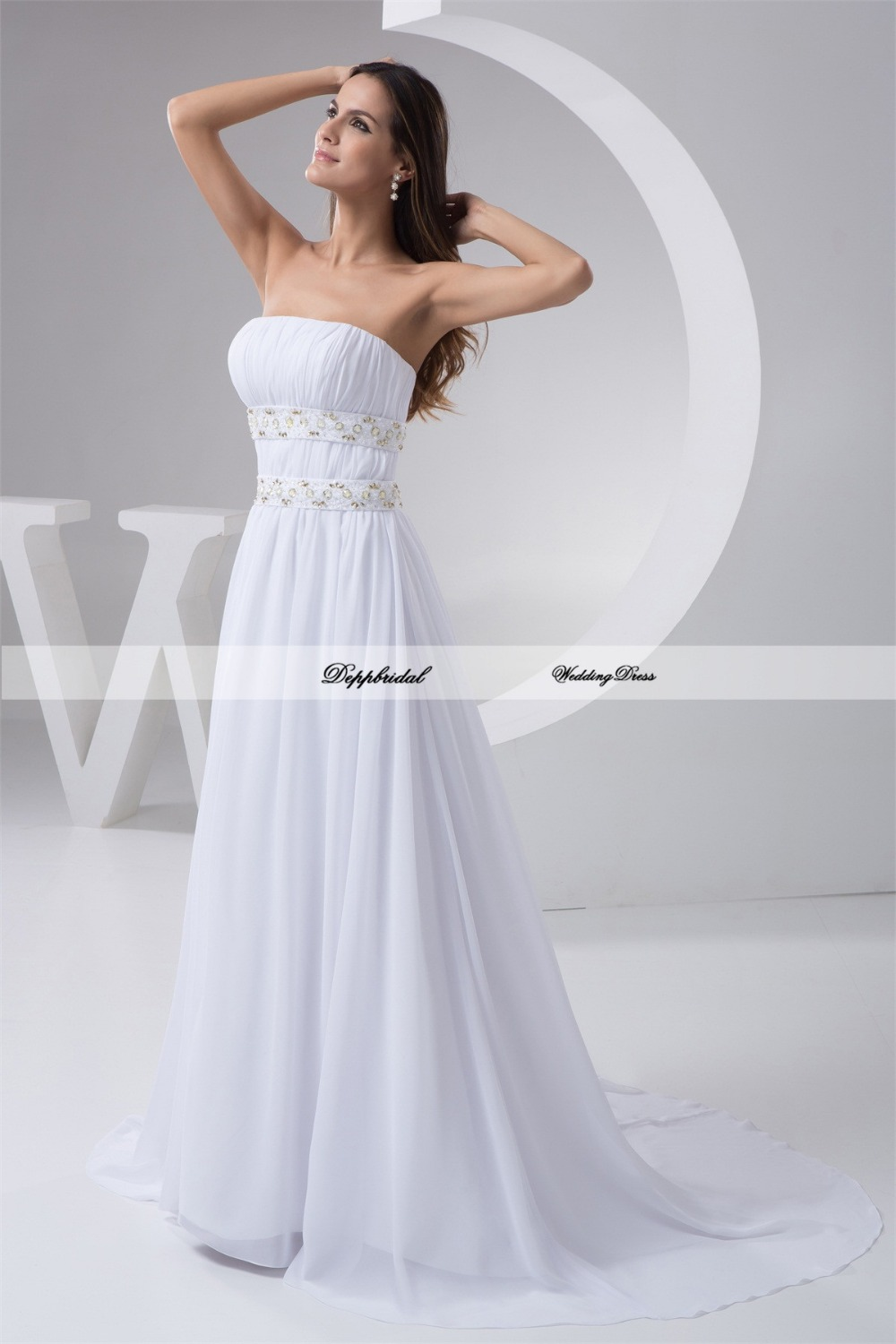 Buy wholesale chiffon a line strapless for Wholesale wedding dress suppliers