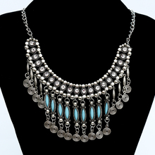 2015 new fine  jewelry fashion flower long Imitation rhinestone necklace tassel vintage ethnic bohemia silver necklace for Women