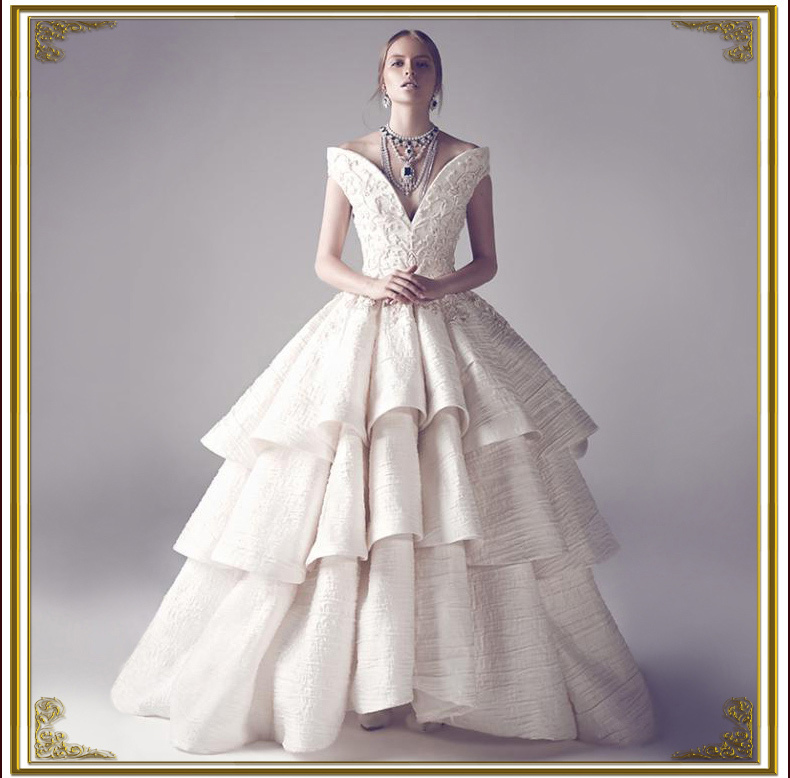 High end new collection noble exquisite embroidery ruffles for High end wedding dress