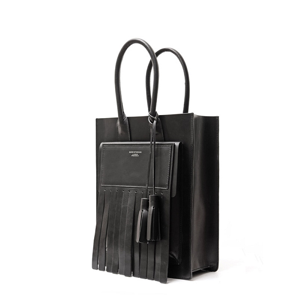Top ACNE Black Tassel Real Genuine Leather Women Tote Handbags Luxury Designer Brand Fashion Men Travel Big Bags High Quality(China (Mainland))