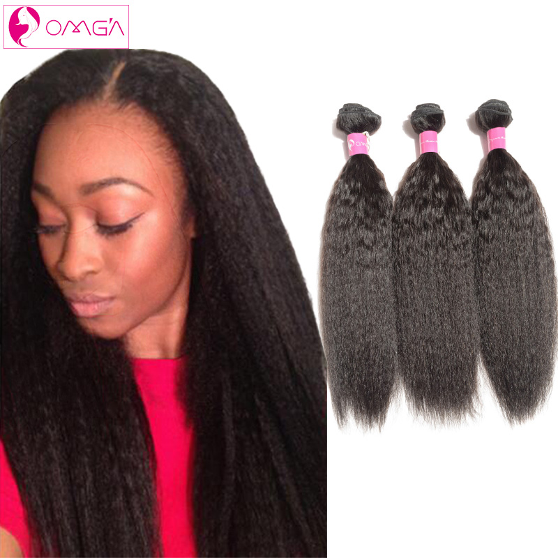 OMG Brazilian Virgin Hair Kinky Straight Human Hair Weaves 3 Bundles Yaki Straight Human Hair Extensions Kinky Straight 7A 1B