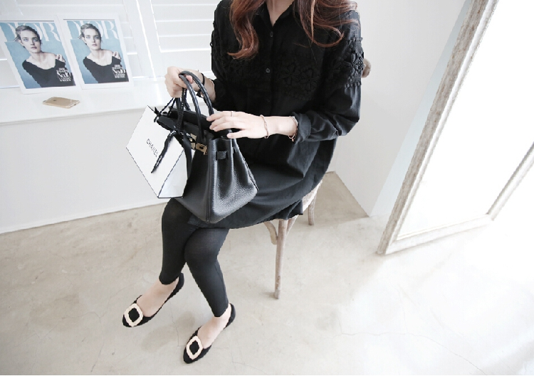H353  3318# 2016 spring summer women lace blouses tops long shirts casual tur-down collar white black