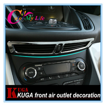 Car Stikers Air Condition Vent Decorative Trim Chrome Sequin Sticker Case for Ford Kuga Escape 2013 2014 2015 Accessories