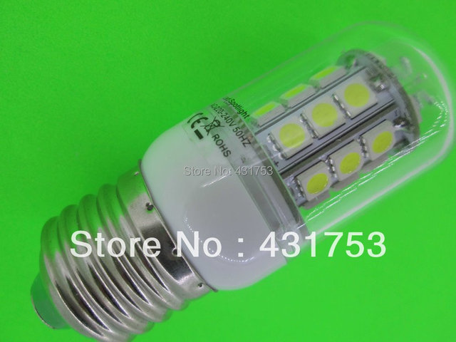 Sale Free Shipping 5PC E27  7W  LED 5050 Corn Light  E27  5050 30 LED Bulb 200V-260V/AC Spot Light Warm White Light Lamp
