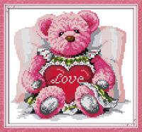 Pink bear Cartoon Counted Cross Stitch 11CT Printed 14CT Cross Stitch Set Cross-stitch Kit Crafts Sewing Needlework K838