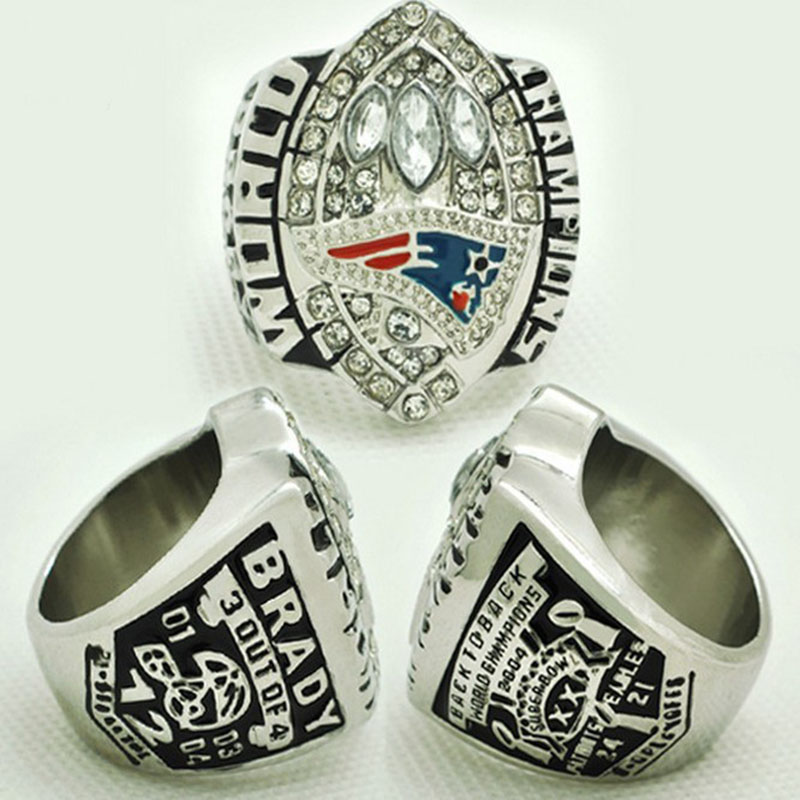 High Quality New England Patriots Authentic 2004 Super Bowl XXXIX champs Ring sz 11, Silver Plated Men's Wedding Band Ring(China (Mainland))