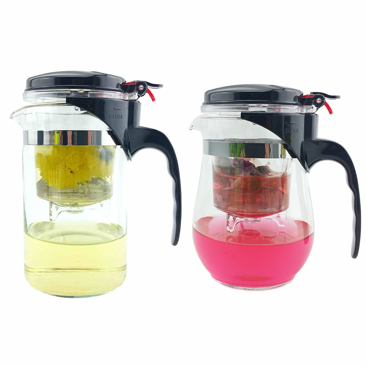 Hot sale 500ml Style A or B Heat Resistant Glass Tea Pot Flower Tea Set Puer kettle Coffee Teapot Convenient Office Teaset 1pcs(China (Mainland))