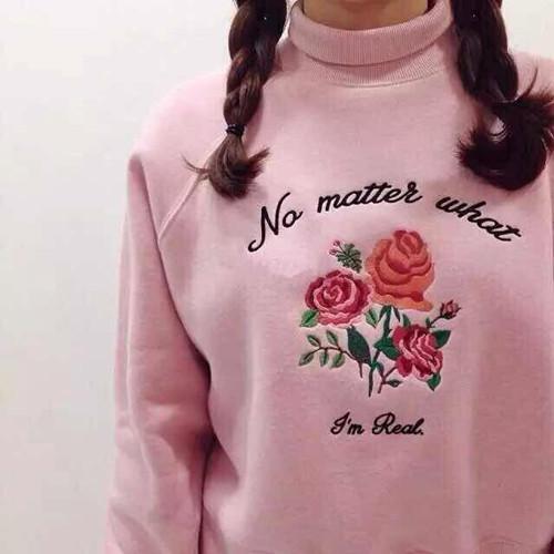 Women's ulzzang vintage Harajuku exclusive custom retro high-necked fleece embroidered roses for women sweatshirt(China (Mainland))