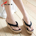 2015 New Wedges Sandals Woman Vintage Bohemia Flip Flops Straw Summer Shoes Platform Sandals Size 35