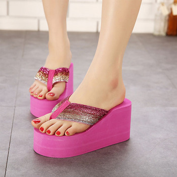 2016 Summer Women Sandals Fashion Ultra High Heels Flip Flops Women's Wedges High-heeled Shoes