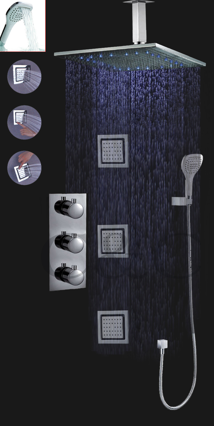 With Wall Mounted 16 Inch Auto-thermostat Control Rainfall LED Shower Head Set Bathroom Thermostatic LED Shower Faucet Set(China (Mainland))