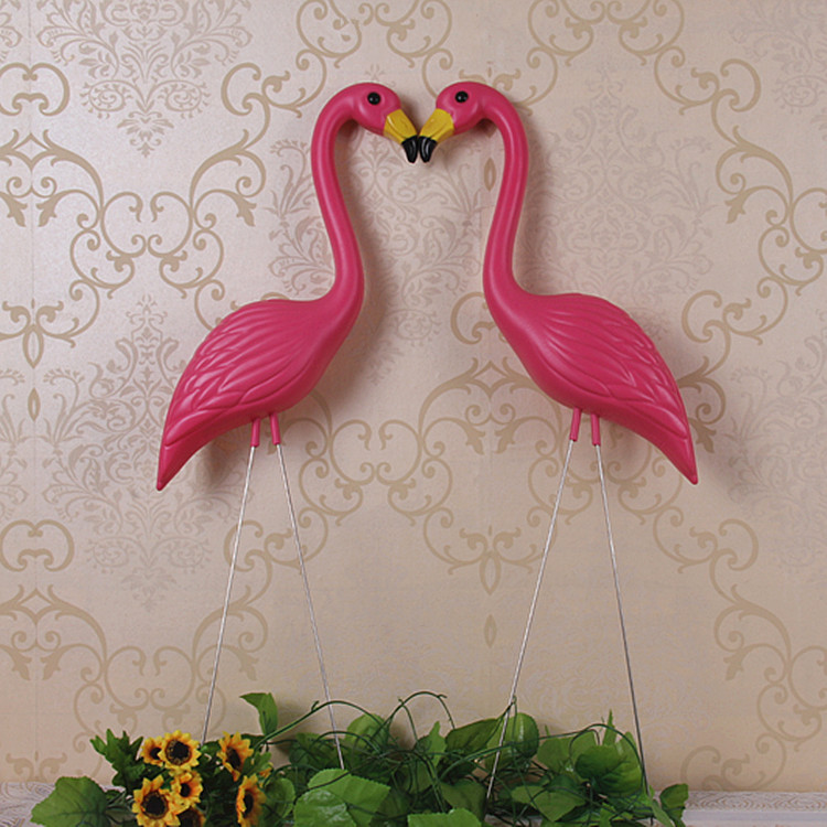 "2 plastic bight pink premium flamingos garden ,yard and lawn art ornament wedding ceremony decoration with 34"" height(China (Mainland))"