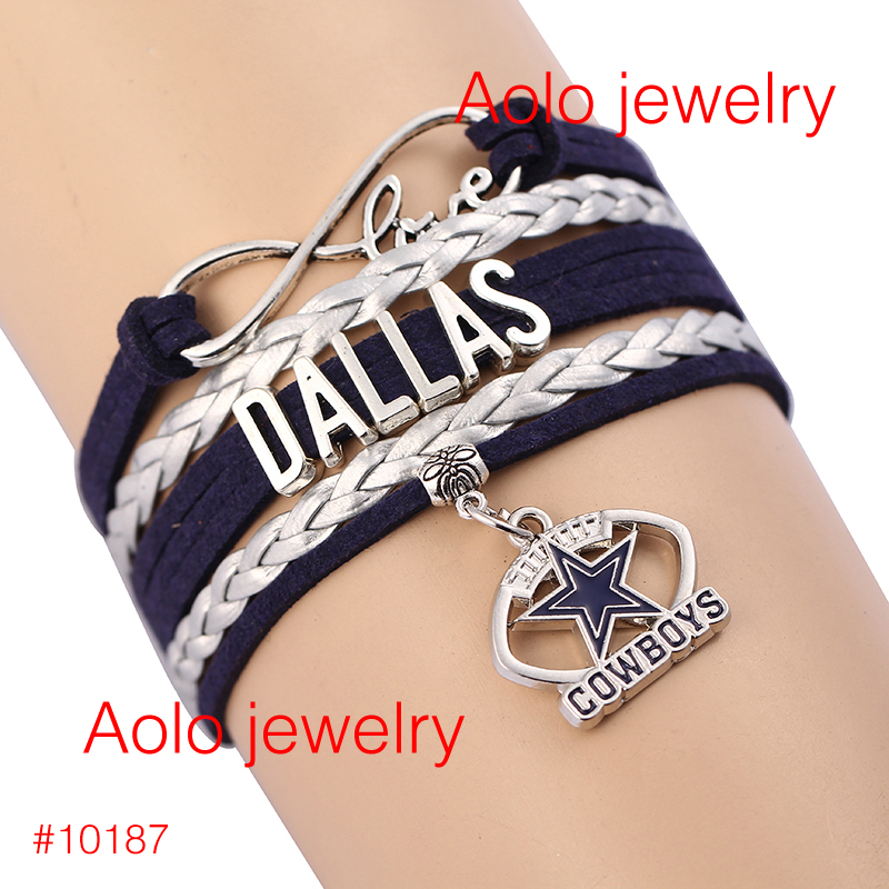 6Pcs/Lot NFL Dallas Cowboys NFL Infinity Bracelet Football Blue Silver White Leather LOVE Drop Shipping! #1183(China (Mainland))