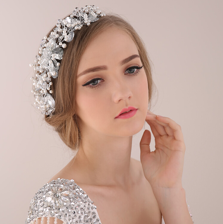 2015 Luxury bridal hair jewelry headband wedding headdress crystal pearl tiara women's head decoration bridal hair accessories