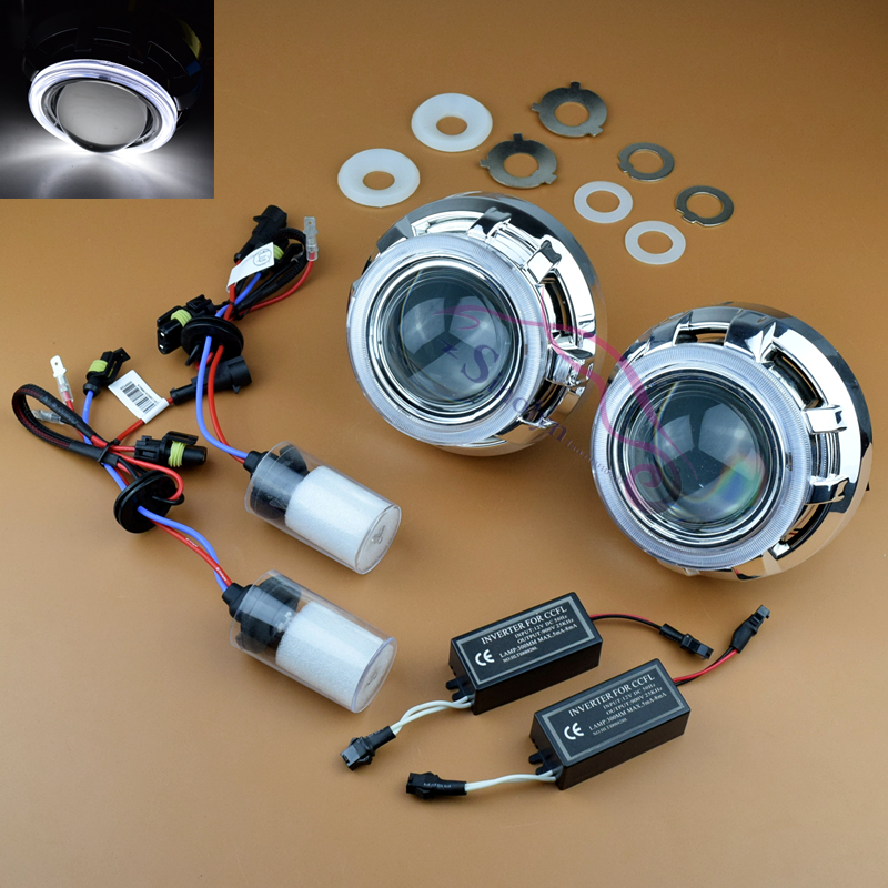 3.0 inch HID Bixenon Headlight Projector Lens Conversion Retrofit H4 H7 Kit With CCFL Angel Eyes Halo+ Xenon Lamps+ Wiring