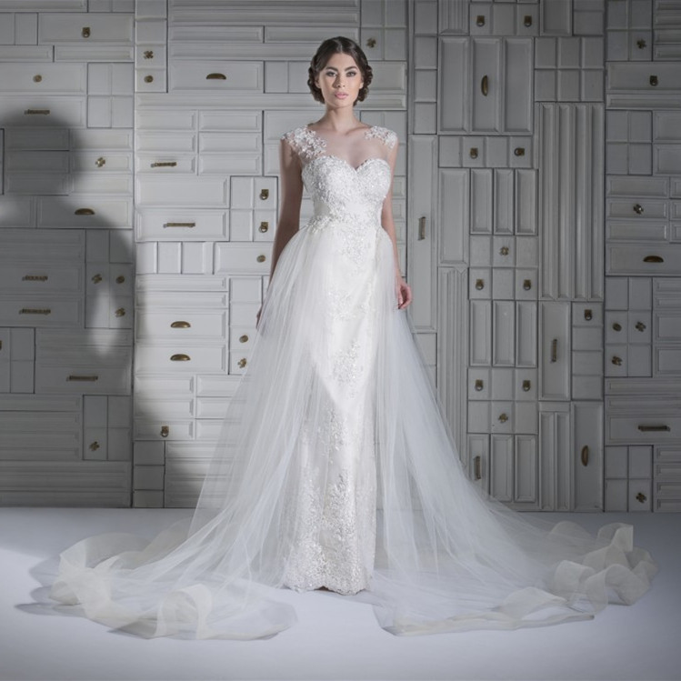 New Arrival 2015 Long Tulle Sheer Neck Beaded Wedding Dresses Bridal Gown Appliques Elegant Ball Gown Wedding Dresses 2015(China (Mainland))
